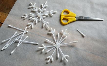 Fültisztító pálcika hópehely dekoráció DIY
