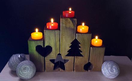 Karácsonyi mécsestartó fából